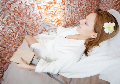 Woman Relaxing in Salt Cave Treatment Room